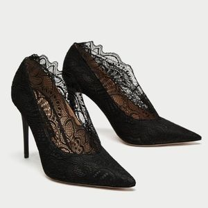 Zara high heel lace court shoes Black